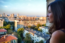View over one of Sofia's neighborhoods with typical Soviet style apartment housing.