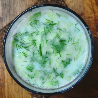 Tarator, a typical Bulgarian cold yogurt-cucumber soup.